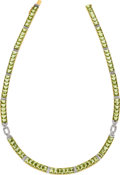 Estate Jewelry:Necklaces, Peridot, Diamond, Gold Necklace. ...