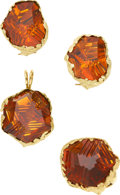 Estate Jewelry:Suites, Carved Citrine, Diamond, Gold Jewelry Suite, Munsteiner, JuliusCohen. ...