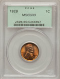 Lincoln Cents: , 1929 1C MS65 Red PCGS. PCGS Population (463/432). NGC Census: (494/442). Mintage: 185,262,000. Numismedia Wsl. Price for pr...