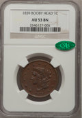 Large Cents: , 1839 1C Booby Head AU53 NGC. CAC. NGC Census: (8/116). PCGSPopulation (2/95). Mintage: 3,128,661. Numismedia Wsl. Price fo...
