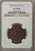 Large Cents: , 1842 1C Small Date AU58 NGC. NGC Census: (6/13). PCGS Population(4/7). Numismedia Wsl. Price for problem free NGC/PCGS co...