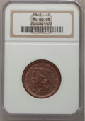 Large Cents: , 1849 1C MS64 Brown NGC. NGC Census: (56/47). PCGS Population (17/3). Mintage: 4,178,500. Numismedia Wsl. Price for problem ...