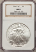 Modern Bullion Coins, 2005 $1 Silver Eagle MS70 NGC. NGC Census: (0). PCGS Population(0). Numismedia Wsl. Price for problem free NGC/PCGS coin ...