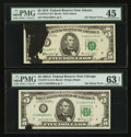 Error Notes:Ink Smears, Fr. 1973-F $5 1974 Federal Reserve Note. PMG Choice Extremely Fine 45; Fr. 1977-G $5 1981A Federal Reserve Note. PMG Choice Un... (Total: 2 notes)