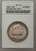 Commemorative Silver, 1893 50C Columbian MS63 ANACS. This Lot Includes: 1893 50C Columbian MS63 ANACS and 1893 50C Columbian MS63 NGC. The curr... (Total: 2 coins)