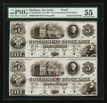 Obsoletes By State:Michigan, Ann Arbor, MI- Government Stock Bank $5-$5 Sep. 1, 1850 G10a Lee ANN 4-17 Uncut Proof Pair. ...