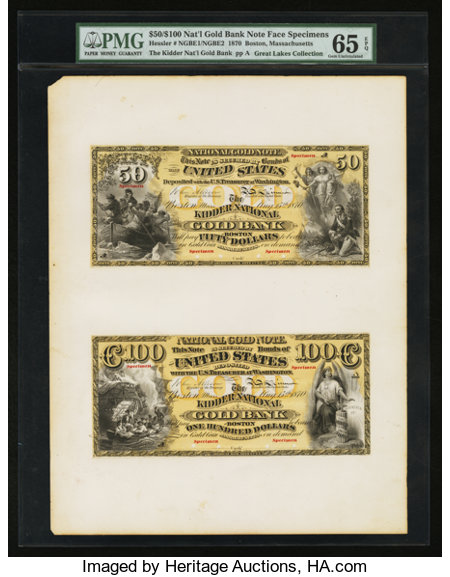 Boston, MA - $50 / $100 National Gold Bank Note Specimens 1870 Hessler NGBE1 / NGBE2 The Kidder National Gold Bank Ch. #...