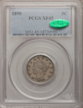 Liberty Nickels: , 1890 5C XF45 PCGS. CAC. PCGS Population (13/372). NGC Census:(2/261). Mintage: 16,259,272. Numismedia Wsl. Price for probl...