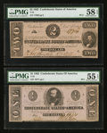 Confederate Notes:1862 Issues, T54 $2 1862 PF-11. T55 $1 1862 PF-2.. ... (Total: 2 notes)