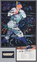 Autographs:Others, 1930's Babe Ruth Signed Cut Signature with 1995 LeRoy Neiman SignedPrint....
