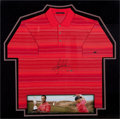 Golf Collectibles:Autographs, Circa 2000 Tiger Woods Signed UDA Red Shirt Display....