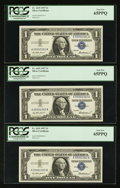 "Small Size:Silver Certificates, ""Four Digit Serial Numbers"" Fr. 1619 $1 1957 Silver Certificates. Ten Consecutive Examples. . ... (Total: 10 notes)"