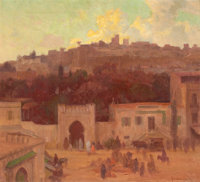 GORDON COUTTS (American, 1880-1937) The Casbah Oil on canvas 20 x 22 inches (50.8 x 55.9 cm) S