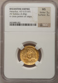 Ancients:Byzantine, Ancients: BYZANTINE EMPIRE. Heraclius (AD 610-641). AV solidus(4.40 gm). ...