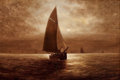 American:Marine, FROM THE FLANNER & BUCHANAN CORPORATE COLLECTION. ELBRIDGEWESLEY WEBBER (American, 1839-1914). Sailing at Night,circ...
