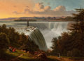 19th Century European:Landscape, FROM THE FLANNER & BUCHANAN CORPORATE COLLECTION. VICTOR DEGRAILLY (French, 1804-1889). Niagara Falls, circa 1850.Oi...