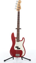 Musical Instruments:Bass Guitars, 1998 Squier By Fender Red Precision Electric Bass Guitar #MN891394....