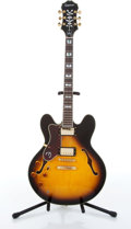 Musical Instruments:Electric Guitars, 2009 Epiphone Sheraton II LH VS Left Handed Sunburst ArchtopElectric Guitar #0906212224....
