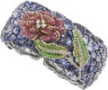 Estate Jewelry:Bracelets, Pink & Blue Sapphire, Tsavorite Garnet, Diamond, Gold Bracelet. ...