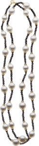 Estate Jewelry:Necklaces, Cultured Pearl, White & Black Diamond, Gold Necklace. ...