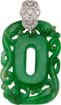 Estate Jewelry:Pendants and Lockets, Jadeite Jade, Diamond, Platinum, Gold Pendant. ...