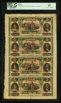 Obsoletes By State:Louisiana, New Orleans, LA- Citizens Bank of Louisiana $5-$5-$5-$5 G14a-G14a-G14a-G14a Uncut Sheet . ...