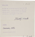 Autographs:Others, Circa 1951 Mickey Mantle Signed Consent Form....
