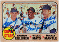 Autographs:Sports Cards, 1968 Topps Baseball #490, Signed by Killebrew & Mantle....