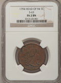 1794 1C Head of 1794 Fair 2 BN NGC. This Coin includes: Additional Original Flip With coin. S-63. NGC Census: (9/360). P...