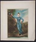Antiques:Posters & Prints, Charming Chromolithograph of a Young Boy in Military SchoolUniform....