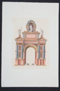 """Antiques:Posters & Prints, Hand-Colored Engraved Print Entitled, """"Arc Selon Lordre Corinte""""...."""