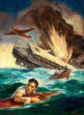 Pulp, Pulp-like, Digests, and Paperback Art, GEORGE ROZEN (American, 1895-1974). Battleship Strike, FiveNovels Monthly, pulp cover, April 1940. Oil on canvas. 30 x ...