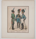 Antiques:Posters & Prints, Three Hand-Colored Period Military Costume Prints.... (Total: 3 Items)