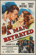 """Movie Posters:Mystery, A Man Betrayed (Republic, R-1953). One Sheet (27"""" X 41""""). Mystery....."""