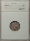 Barber Dimes: , 1905-S 10C AU58 ANACS. NGC Census: (20/110). PCGS Population(22/137). Mintage: 6,855,199. Numismedia Wsl. Price for proble...