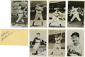 "Autographs:Post Cards, Cleveland Indians Greats Signed Postcards Lot of 8. Seven black andwhite 3.5x5.5"" photographic postcards are joined here b..."