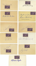 "Autographs:Index Cards, Baseball Stars Signed Index Cards Lot of 11. A vintage stamp from 1939 has been affixed to each of the unlined 3x5"" index t..."