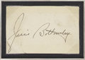 Autographs:Others, Jim Bottomley Signed Cut Signature. Tough and desirable Hall ofFame autograph was clipped from a government postcard, as a...