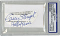 """Autographs:Others, Casey Stengel Signed Cut Signature. Flawless blue ink signature, tagged """"Hall of Famer,"""" was clipped from a baseball progra..."""