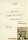 Autographs:Letters, 1937 William Harridge Signed Typed Letter. Hall of Fame executiveWilliam Harridge provides a sparkling fountain ink signat...
