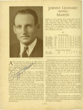 """Autographs:Others, Pepper Martin Signed Book Page. A removed page from """"Who's Who in Baseball"""" is signed in 10/10 blue ink by the St. Louis Ca..."""