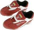Baseball Collectibles:Others, Edgar Renteria Game Used and Signed Shoes. Fantastic game worn pair of red Easton baseball cleats comes from the Colombian-...