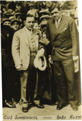 Baseball Collectibles:Photos, 1930s Babe Ruth Photograph. Great service photo from the 1930s captures a dapper Babe Ruth as he poses with wrestler and fo...
