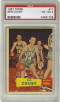 Basketball Cards:Singles (Pre-1970), 1957-58 Topps Basketball Bob Cousy #17 PSA VG-EX 4. If not for theunfortunate centering, this fantastic Cousy card would g...