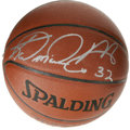 Basketball Collectibles:Balls, Karl Malone Single Signed Basketball. Pristine silver sharpiesignature booms clear across a panel of the new Spalding bask...