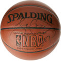 Basketball Collectibles:Balls, Lamar Odom Single Signed Basketball. Providing a respectablecounter for Kobe Bryant's skills in Los Angeles, Lamar Odom gi...
