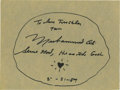"""Boxing Collectibles:Autographs, Muhammad Ali Signed Card. Excellent example of Ali's signature isfeatured here in perfect black sharpie on an 9.5x12"""" piec..."""
