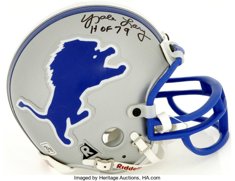 Detroit Lions Hall of Famers Dual-Signed Mini Helmet.  435db4fea