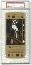 Football Collectibles:Tickets, 1981 Super Bowl XV Football Full Ticket PSA NM 7. Offered is a PSA-graded full ticket (gold variation) from the 1981 Super B...
