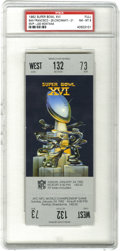 Football Collectibles:Tickets, 1982 Super Bowl XVI Football Full Ticket PSA NM-MT 8. Offered is a PSA-graded full ticket from the 1982 Super Bowl played at...
